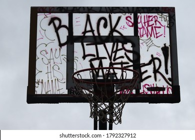 Black Lives Matter printed on a basket ball backboard and goal
