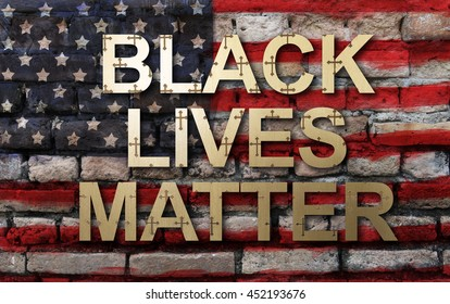 Black lives matter slogan on American flag, wall background