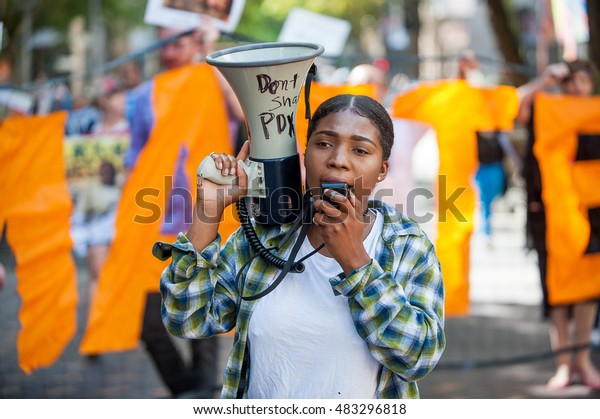 Black Lives Matter Sunday protest in downtown Portland, OR. 9/11/2016