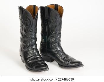 Black Lizard Skin Cowboy Boots.