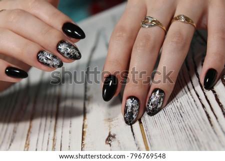Black Long Nails Silver Shiny Design Stock Photo Edit Now