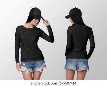 Black long sleeve t-shirt on a young woman in shorts and cap, isolated, front and back, mockup.