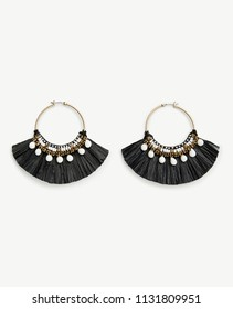 Black Long Tassel Earrings Circle Dangle Drop Earrings for Women Oxidized Thread Afghani Beautiful Jhumki Earrings Drop Earrings For Girls And Women