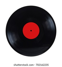 Black long-play vinyl record with red label isolated on white background front view closeup