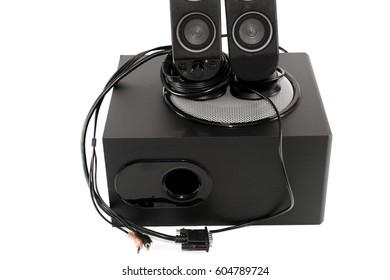 Black Loudspeaker with Subwoofer