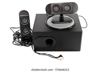 Black Loudspeaker with Subwoofer and Cable