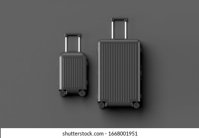 Black luggage set on dark background, top view image, flat lay composition. Travel minimalist concept, black and dark classic baggage mockup, small and big. Suitcase accessory set, journey concept.