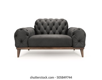 Black luxury Chesterfield armchair isolated on white -Clipping Path