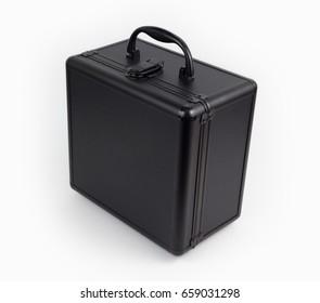 Black luxury square suitcase isolated on white background