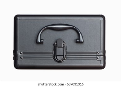 Black luxury suitcase, top view, isolated on white