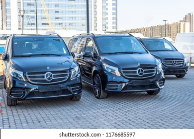 Black luxury van three Mercedes-Benz minivan. Russia, Saint-Petersburg. 14 april 2018