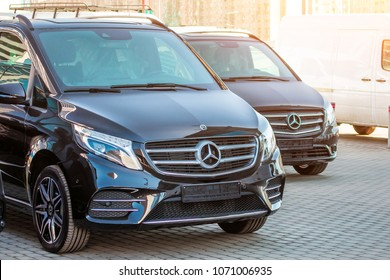 Black luxury van two Mercedes-Benz minivan. Russia, Saint-Petersburg. 14 april 2018