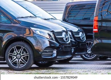 Black luxury van two Mercedes-Benz minivan. Russia. Saint-Petersburg. 28 October 2019
