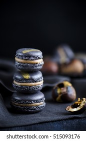 Black macaron with chesnut