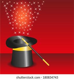 black magic hat with stream of stars