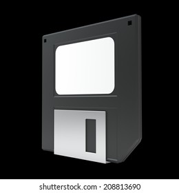 Black Magnetic floppy disc icon for computer data storage. isolated on black background. High resolution 3d