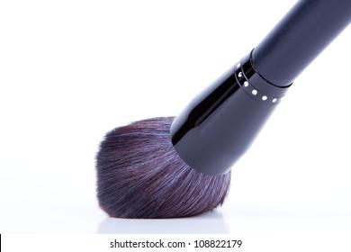 black make-up brushes on white background