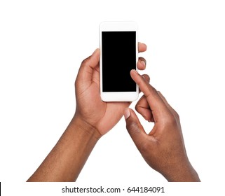 Black male hand touching mobile phone display and pointing with index finger on blank screen, white isolated background, copy space, cutout