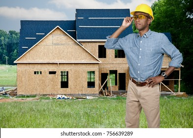 A black man African American Construction Worker on a job site.