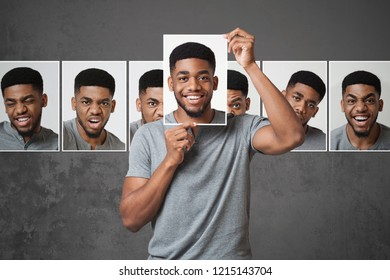 Black man choosing expression of his face, conceptual photo of insincerity people in world