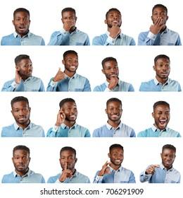 Black man face expression set