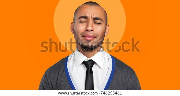 Black man frustrated