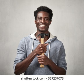 Black man with hammer