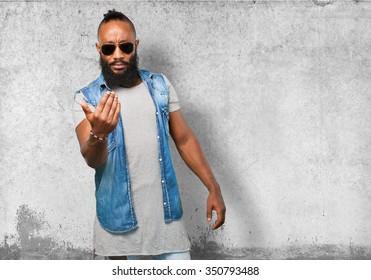 black man inviting to come