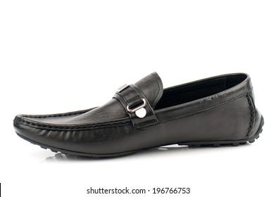 Black man leather shoe isolated on white background.