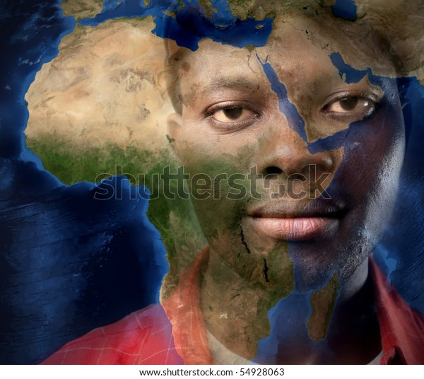 Black man and map of Africa on the background