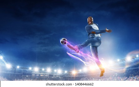 Black man plays his best soccer match. Mixed media