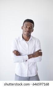 Black man posing white shirt