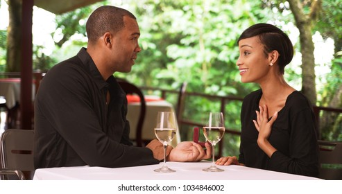 Black Man Proposes His Girlfriend Stock Photo Royalty Free