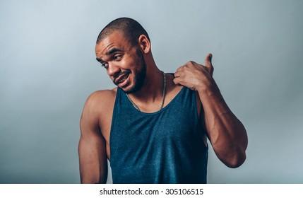 black man pulls the collar