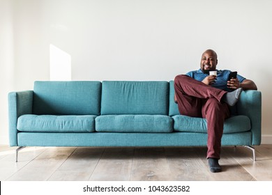 Black man using mobile phone