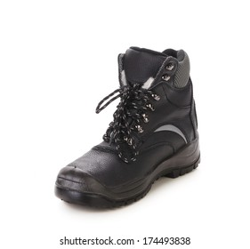 Black man's boot with gray bar. Isolated on a white background.