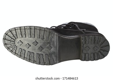 black man's boot isolated on white background