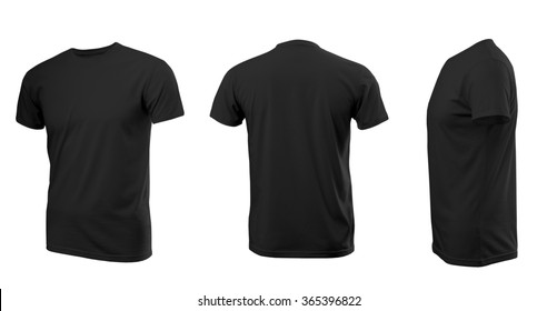 Black man's T-shirt with short sleeves with rear and side view on a white background