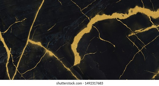 black marble with golden veins ,Black marbel natural pattern for background, abstract black white and gold, black and yellow marble, , Yellow glittering marbel stone walls texture background.