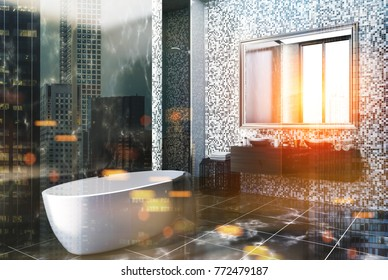 Black marble and gray tile bathroom corner with a black marble floor, a large window, a white bathtub and round sink. 3d rendering mock up double exposure toned image