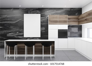 Black marble kitchen interior with a gray floor, white countertops and a white and wooden bar with black stools. A poster. 3d rendering mock up