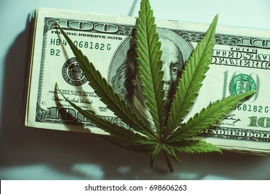 Black market of drugs trade, dollars and cannabis