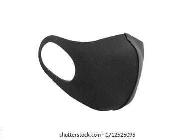 schwarze Maske und Corona-Virenschutz einzeln auf weißem Hintergrund