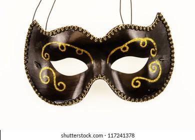 a black mask on white ground....