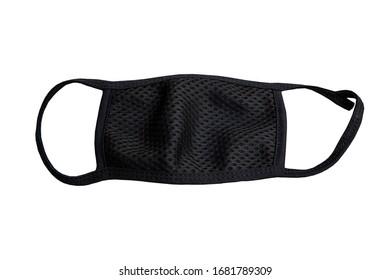 Black Mask, Outdoor Mouth Mask Anti-dust Flu Mask On White Background - stock images