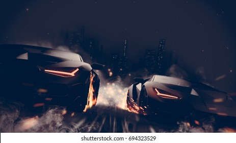 Black matte sports cars racing in the city - street racer concept (with grunge overlay) generic and brandless - 3d illustration