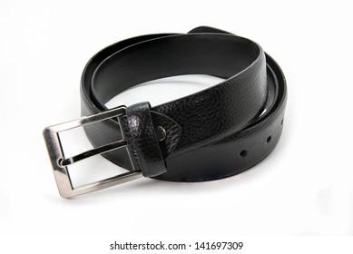 Black men leather belt isolated on white