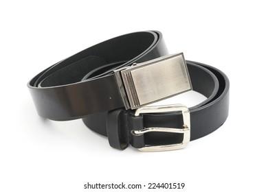 black men leather belt  on white background