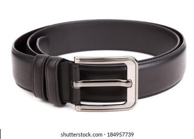 Black men's belt on a white background