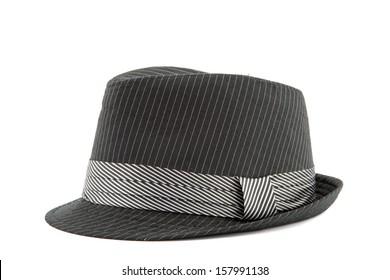 black men's hat isolated on white